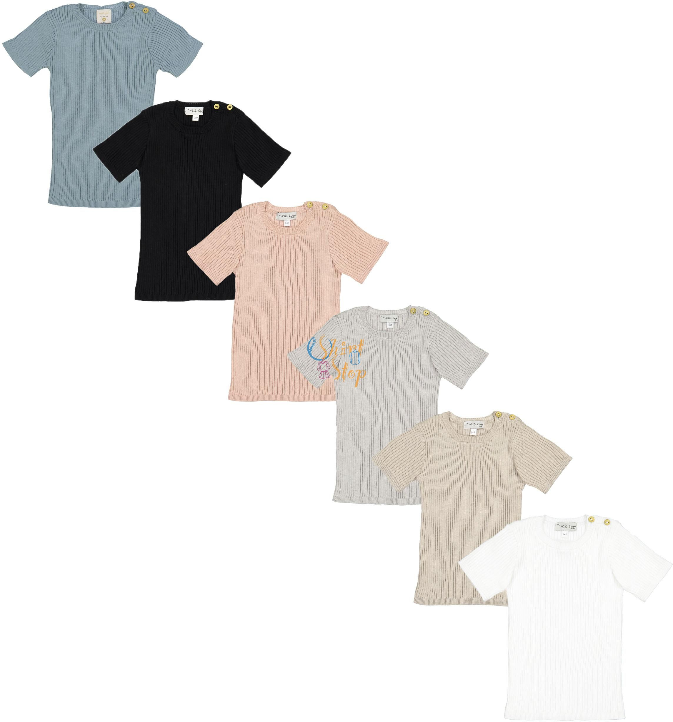 Analogie by Lil Legs Boys Girls Unisex Baby Toddler Summer Ribbed Knit Short Sleeve T-Shirt Sweater