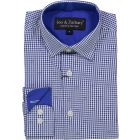 Leo & Zachary Boys Royal Gingham Checked with Stitch Long Sleeve Dress Shirt - 5726