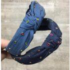 Keshet Girls Denim Knot Headband with Multicolor Stones - HB703
