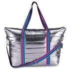 Top Trenz Puffer Tote Bag with Aqua Multi Stripes - TOTE-PUF-AQUA STRIPE STRAP