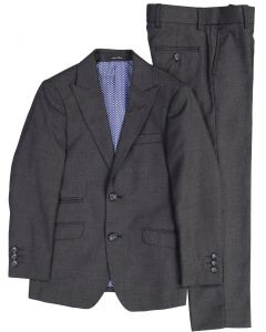 T.O. Collection Boys Charcoal with Burgundy Contrast Stitch Suit Separates (Skinny, Slim, Regular, & Husky Fits) - 1129-602