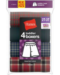 Hanes Toddler Boys Assorted Plaid Boxers - 4 Pack - TB85T4