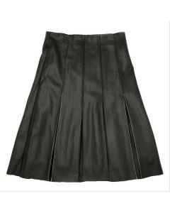 Jupe Womens PU Panel Pleated Skirt - JE-1933
