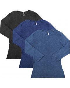 Kiki Riki Womens Ribbed Stonewash 3/4 Sleeve T-Shirt  - 27851