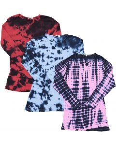 Kiki Riki Womens Ribbed Tie Dye Pattern 3/4 Sleeve T-shirt - 28001