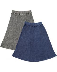 Kiki Riki Womans Thick Ribbed Stonewash A-line Skirt - 41928