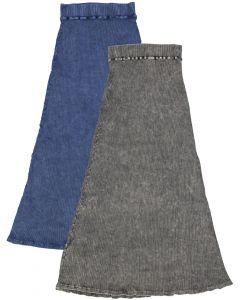 Kiki Riki Womens Thick Ribbed Stonewash Long A-line Skirt - 41933
