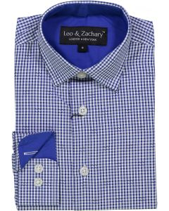 Leo & Zachary Boys Royal Gingham Checked with Stitch Long Sleeve Dress Shirt - 5726