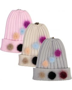 Max Colors Knit Multi Pompom Unisex Hat with Snap for Pompom