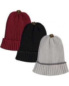 Max Colors Lurex Rim Ribbed Unisex Winter Hat with Snap for Pompom