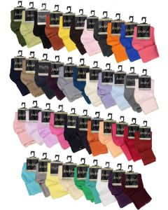 Memoi Boys Girls Unisex Basic Solid Color Triple Roll Socks - MK-5058