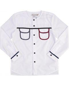 N° 18 Kids Boys Long Sleeve Dress Shirt with No Collar - WA9CY1114