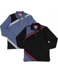 Siccinino Boys Diagonal Stripe Long Sleeve Polo Shirt - 8332