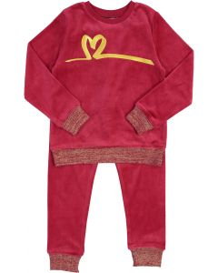 YSBS Girls Velour Metallic Heart Pajamas - 8716