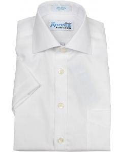 Adonis Boys 100% Cotton Non Iron Solid White Pinpoint Short Sleeve Dress Shirt