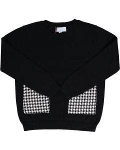 Amourie Boys Long Sleeve Houndstooth Patch Sweater - 73W215