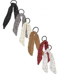 Arabelle Tweed Ponytail Holder with Tails - 4005