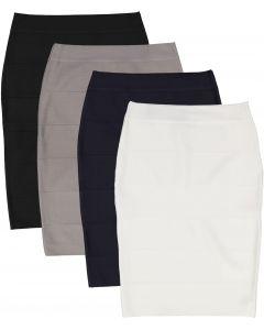 BGDK Womens Ribbed Bandage Pencil Skirt (Longer Length) - BK-BF101B