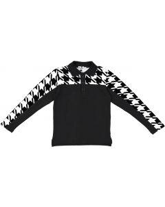 Bla Bla Bla Boys Long Sleeve Houndstooth Polo Shirt - WB0CY1349TB