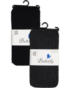 Butterfly Girls Cotton Fine Ribbed Basic Tights - 1076