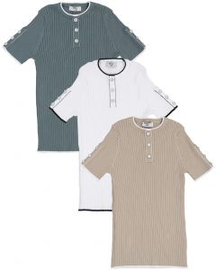 BZzy Style Boys Short Sleeve Ribbed Henley Sweater - 2165