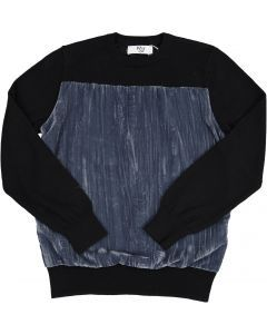 BZzy Style Boys Crushed Velvet Panel Sweater - 3107