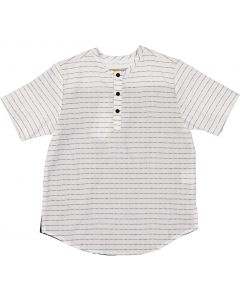 C.T.N Boys Pinstripe Short Sleeve Dress Shirt with No Collar - 9261