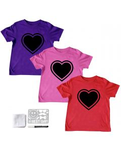 Chalk of the Town Girls Heart Short Sleeve Reusable Chalkboard T-Shirt Kit