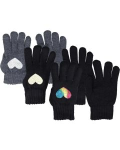 Dacee Girls Foil Heart Knit Gloves - GL6