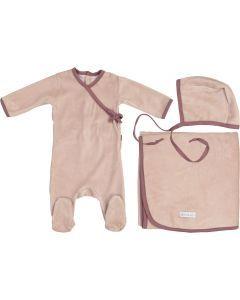 Ely's & Co Girls Velour Velour Trim Stretchie, Bonnet, Blanket Take Me Home Gift Set - AW21-0003-GB