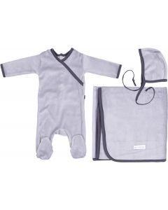 Ely's & Co Boys Velour Trim Stretchie, Bonnet, Blanket Take Me Home Gift Set - AW21-0005-GB