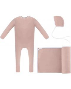 Ely's & Co Girls Cotton Piping Stretchie, Blanket, Bonnet Take Me Home Set