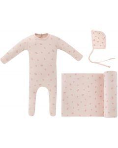Ely's & Co Girls Cotton Leaf Stretchie, Blanket, Bonnet Take Me Home Set