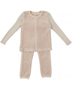 Fragile Baby Boys Girls Unisex Ribbed Lurex Sleeve Velour Outfit - WB0CP4297B