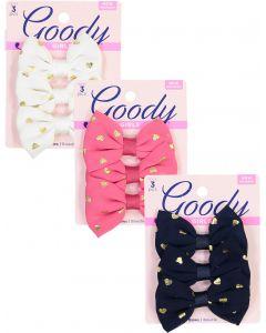 Goody Girls Metallic Heart Bow Hair Clip 3 Pack - 16723