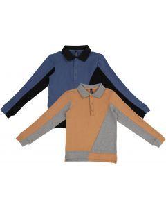 High 5 Boys Long Sleeve Two Tone Polo Shirt - WB1CY1656