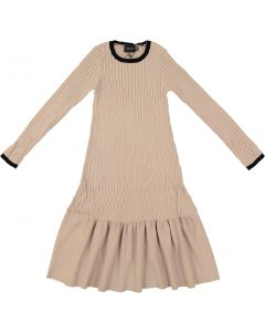 Hopscotch Girls Patterned Wide Ribbed Knit Sweater Dress - WB0CP4259