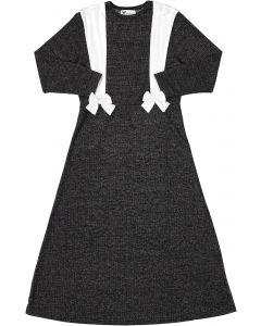 Martino Girls Ribbed Lurex Bowtie Suspender Robe - PS03B