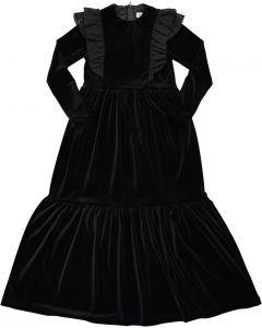 Monalili Girls Shoulder Ruffle Tiered Velour Robe - F483