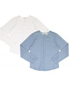 Neuf 9 Boys Long Sleeve Linen Dress Shirt with No Collar - SB0CP4182