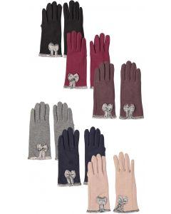 Riqki Womens Fur Bow Gloves - GL137