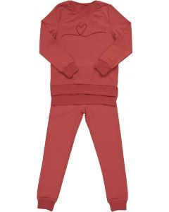 Smile Everyday Girls Embroidered Heart Cotton Pajamas - 3769