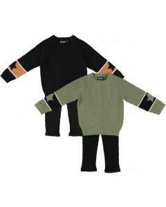 Space Gray Baby Boys Girls Unisex Star Sleeve Sweater Outfit - WB0CY1283