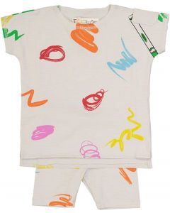 Teela Baby Boys Girls Unisex Scribble Outfit - 10-046
