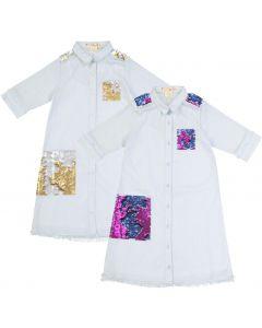 Teela Girls Denim Shirt Dress - 10-062