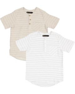 The mEE dress Boys Short Sleeve Side Pull Line Dress Shirt with No Collar - 2210