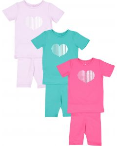 Three Bows Baby Girls Heart Print Outfit - IS149