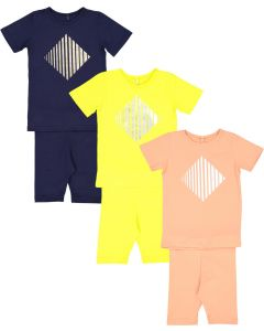 Three Bows Baby Unisex Diamond Print Outfit - IS149