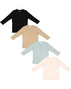 Three Bows Womens Ribbed Henley 3/4 Sleeve T-shirt