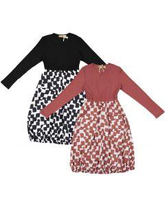 Tikie Studio Girls Ribbed Geometric Dress - 9433
